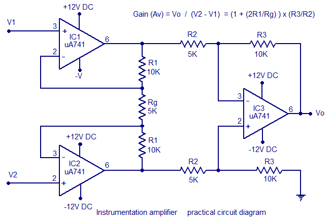 Instrumentation Amplifier using Opamp,Circuit Diagram