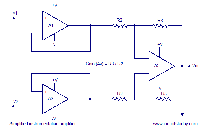 Simple instrumentation amplifier circuit