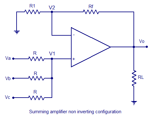 summing amplifier non inverting configuration