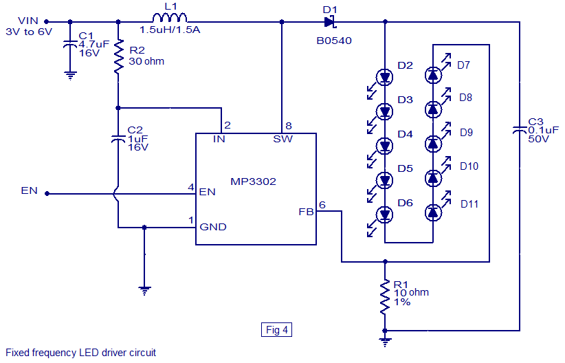 Fixed frequency LED driver led driver based on mp3302 led driver ic working circuit diagram led drivers diagram at fashall.co
