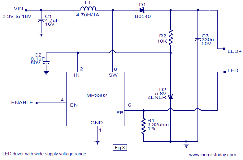 LED driver IC wide supply voltage range led driver based on mp3302 led driver ic working circuit diagram led drivers diagram at fashall.co