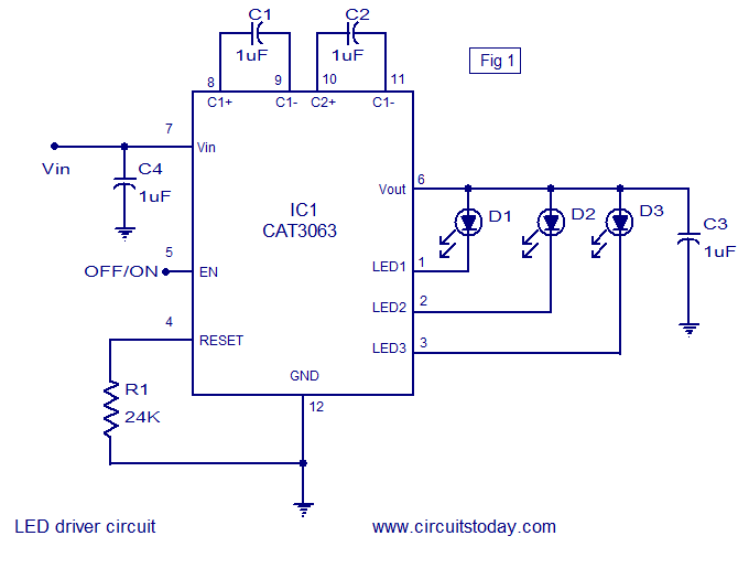 three channel led driver circuit using cat6063 ic circuit diagram rh circuitstoday com led light driver circuit diagram led driver circuit diagram pwm