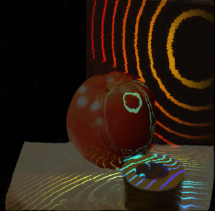 Light passed to a fruit and captured with a trillion FPS camera
