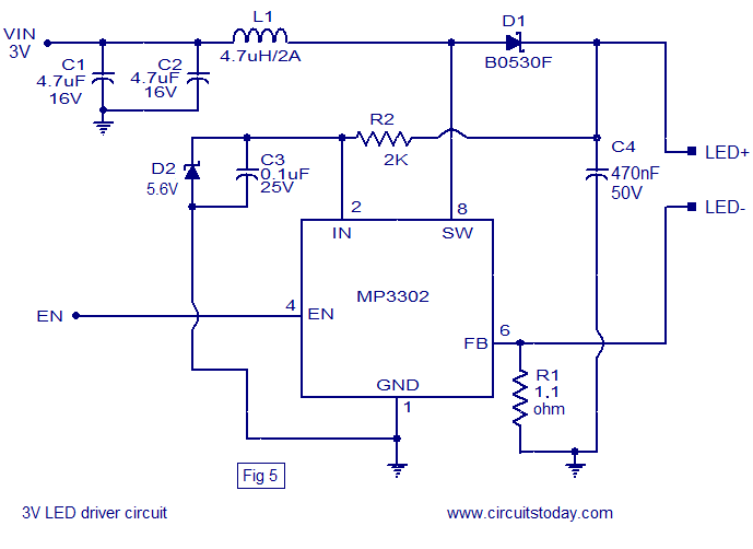 single cell LED driver circuit led driver based on mp3302 led driver ic working circuit diagram led drivers diagram at fashall.co