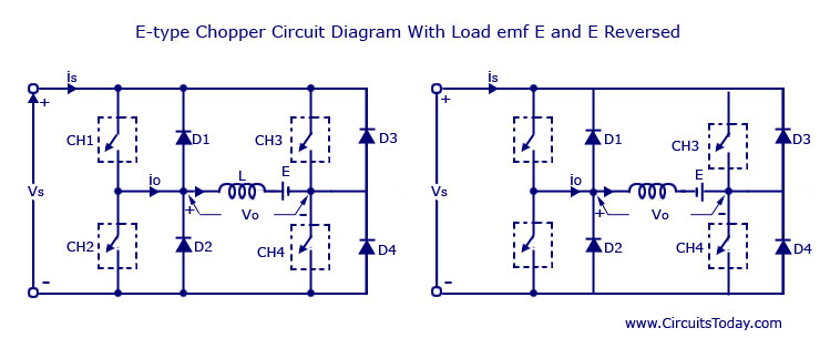 E-type Chopper Circuit diagram with load emf E and E Reversed