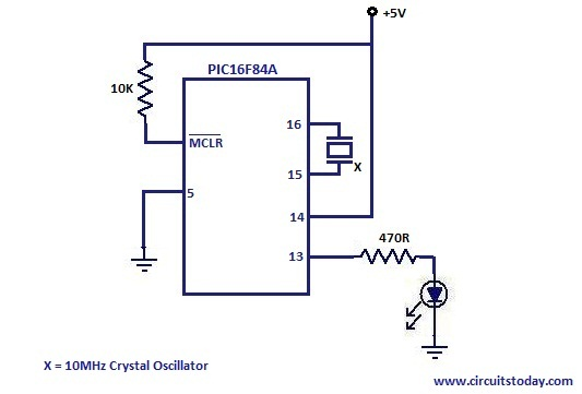 pic16f84a the hello world program electronic circuits and