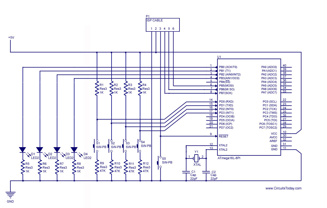 How To Handle Digital Input Outputi O In Avr Microcontroller Count Down Timer Circuit Using Pic Diagram Atmega32