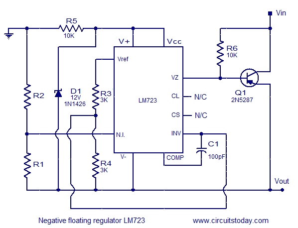 Lm723 negative floating voltage reaulator