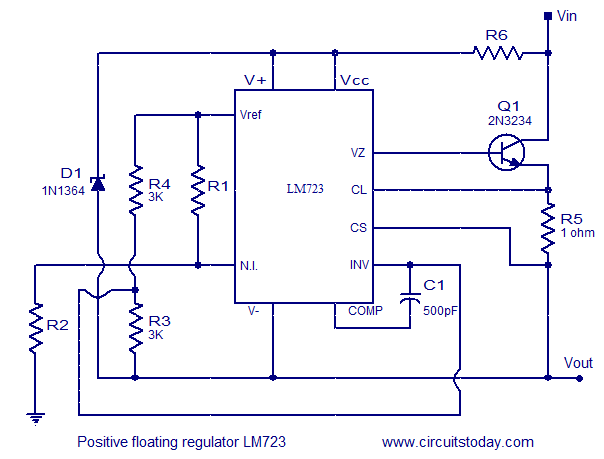 LM723 floating regulator