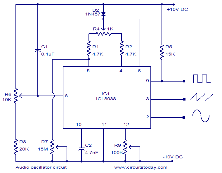 Audio oscillator circuit based on ICL8038  Square, triangle