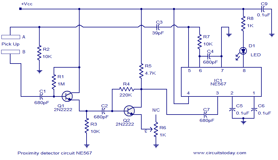 [WQZT_9871]  Proximity detector using NE567 IC. Switches LED when object comes near the  sensor | Light To A Proximity Sensor Wiring Diagram |  | CircuitsToday