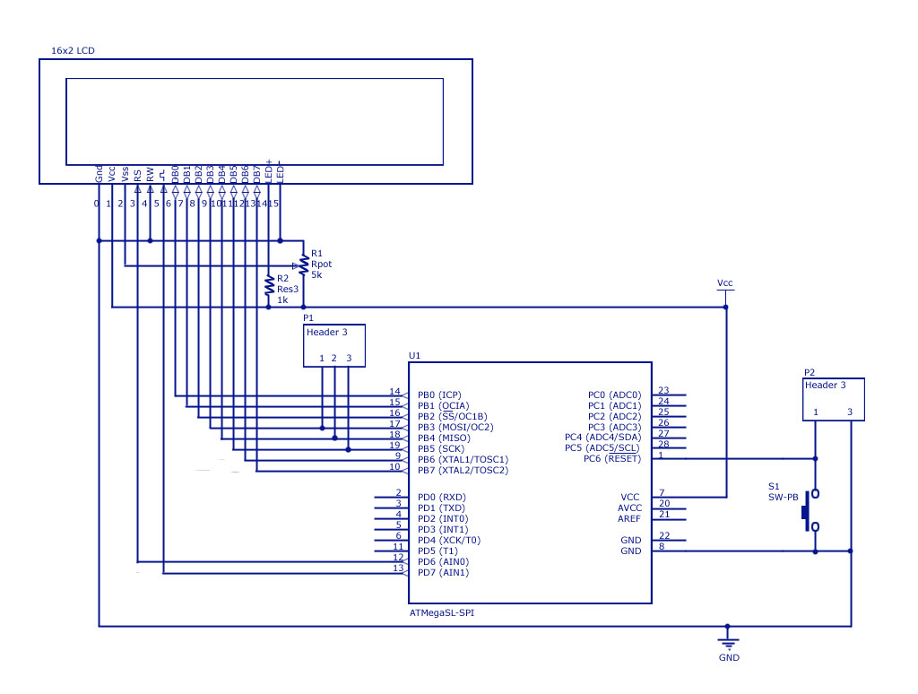 Lcd Interfacing With Avr Atmega8 And Atmega32 Breadboard Circuit Part 1 Of 3 Power Supply In 8 Bit Mode Diagram