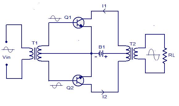 Class B push pull amplifier