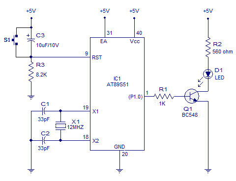 blinking led using 8051 circuit diagram and programs blinking one rh circuitstoday com