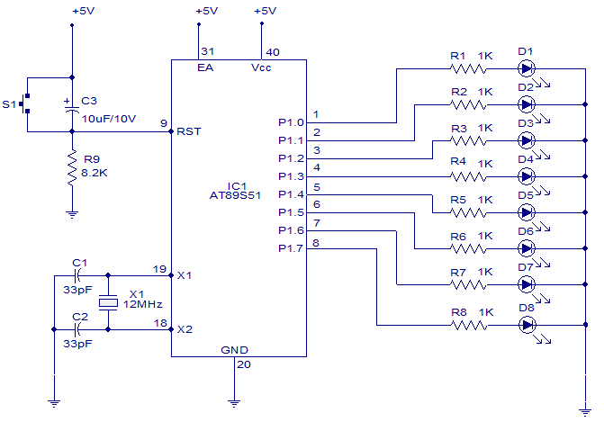 8 channel 6 function light chaser using 8051 thisproject is based rh circuitstoday com