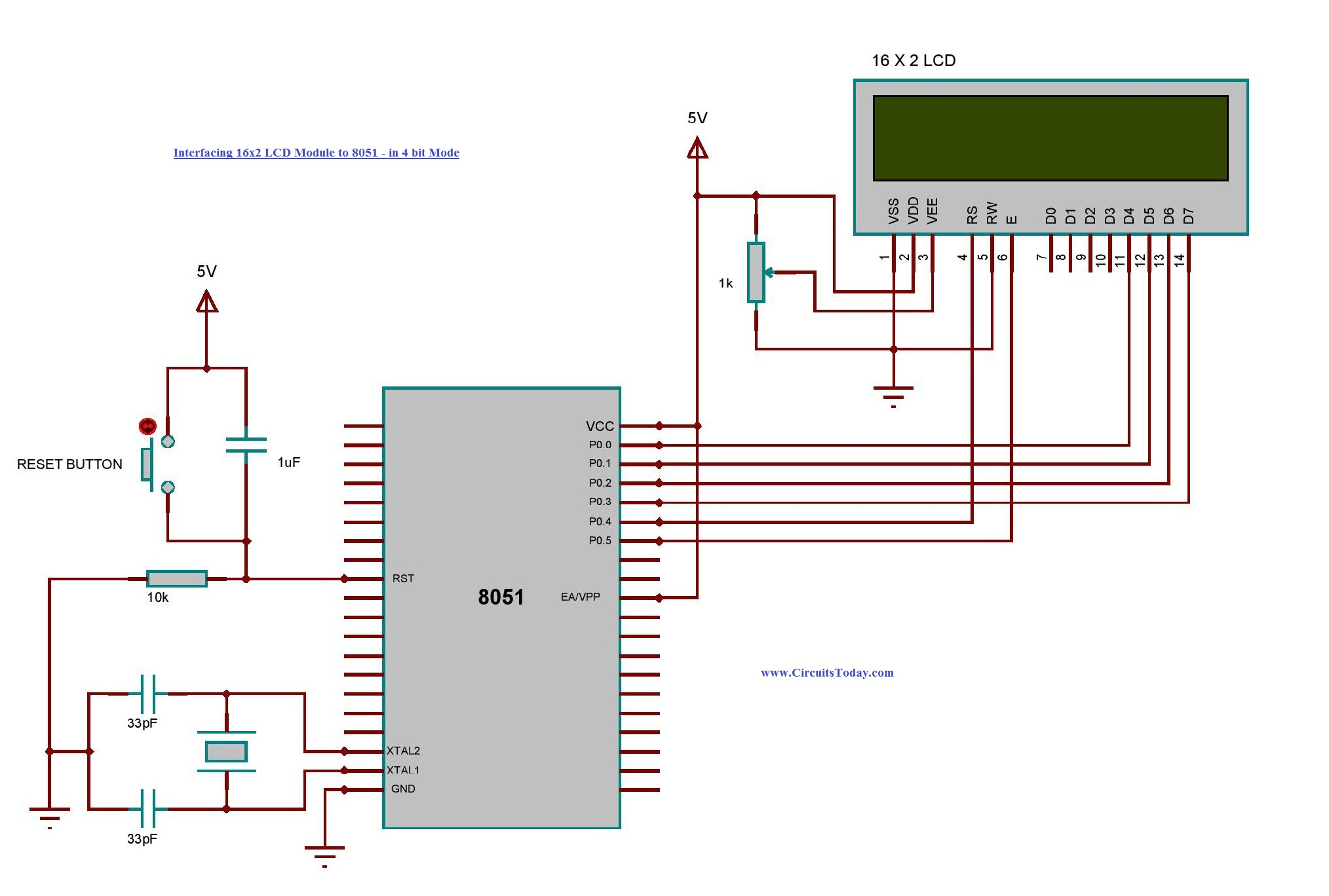 Interfacing 16x2 Lcd With 8051 Microcontroller Module Theory Schematic Diagram X2 02 To In 4 Bit Mode