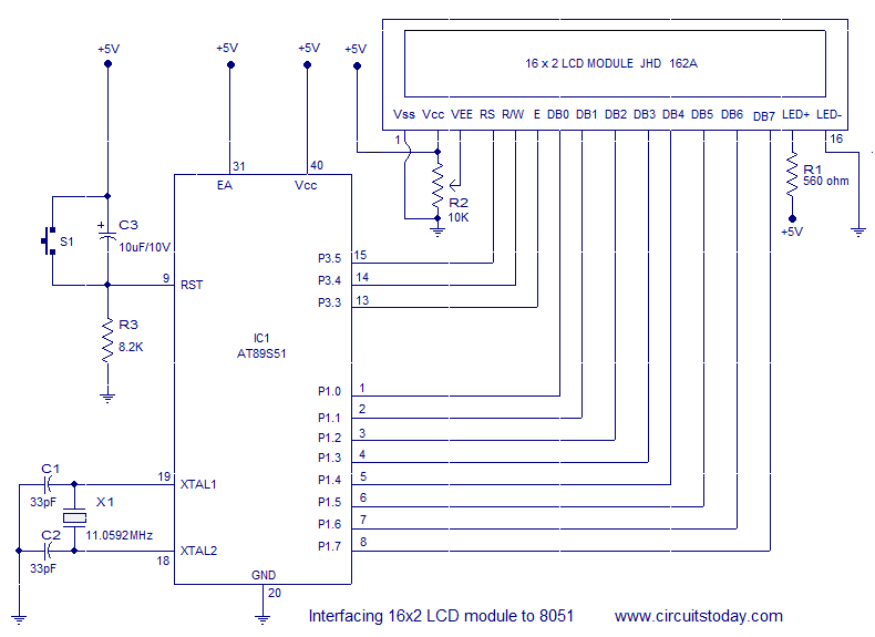 interfacing 16x2 LCD to 8051 16 2 lcd display circuit diagram circuit and schematics diagram lcd wiring diagram at gsmx.co