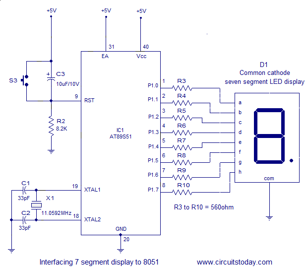 interfacing seven (7) segment display (led) to 8051 micro controller 8051 microcontroller interfacing 7 segment display to atmel at89s51 interfacing 7 segment display to 8051 the circuit diagram