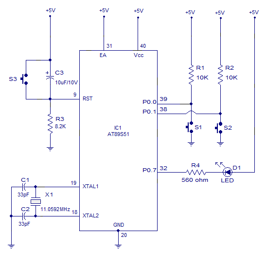 interfacing led using push button switch to 8051 microcontroller circuit diagram interfacing pushbutton