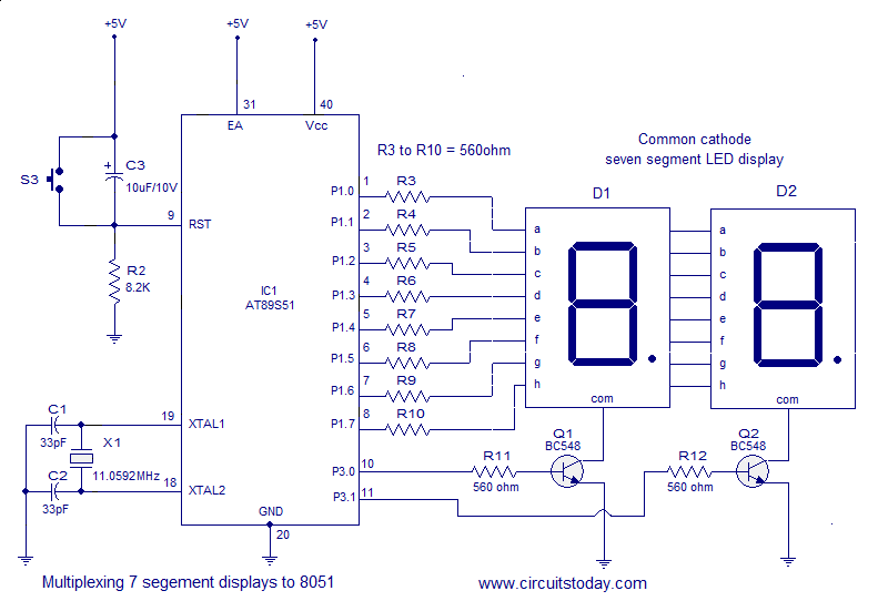 interfacing seven  7  segment display  led  to 8051 micro