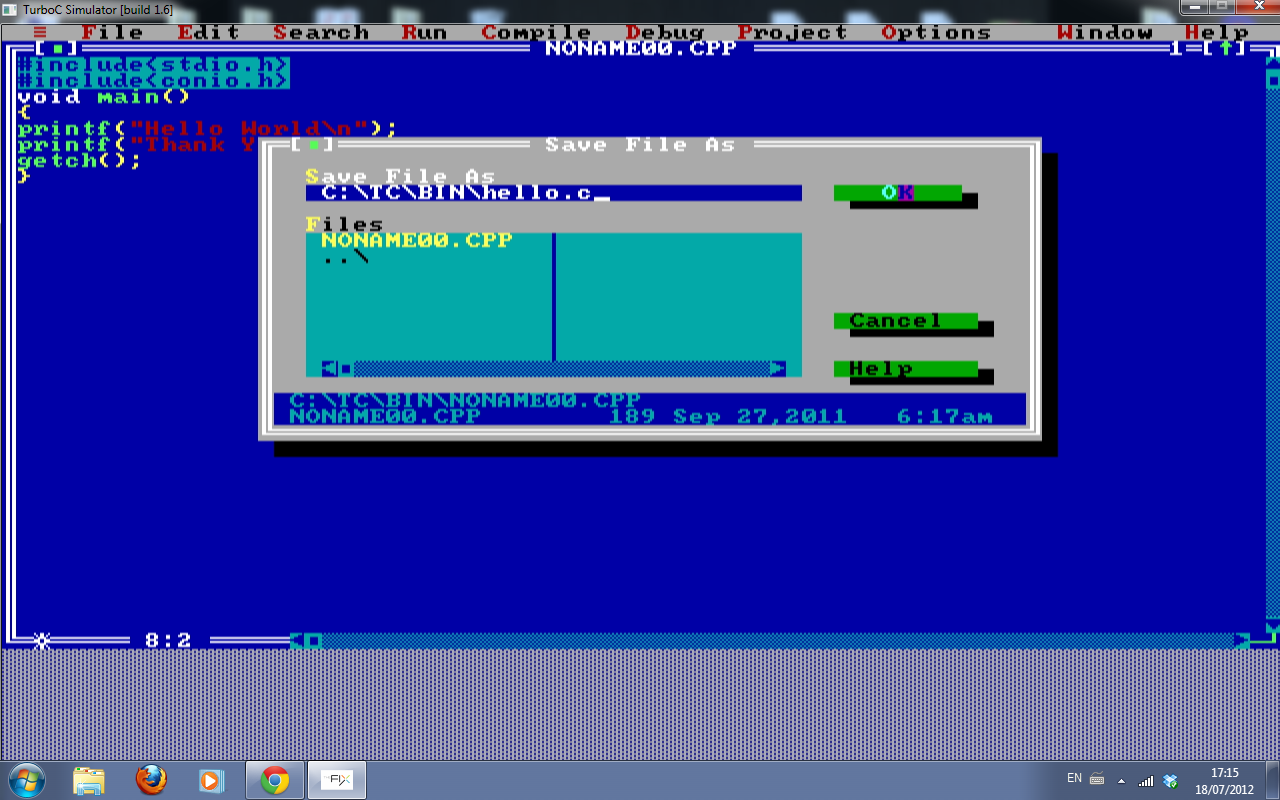 How to compile run a c program using turbo c compiler a C language online editor