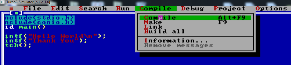 How to write and compile a c program in linux Online compiler turbo c