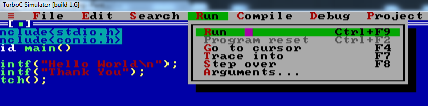 How to RUN a C program in Turbo C