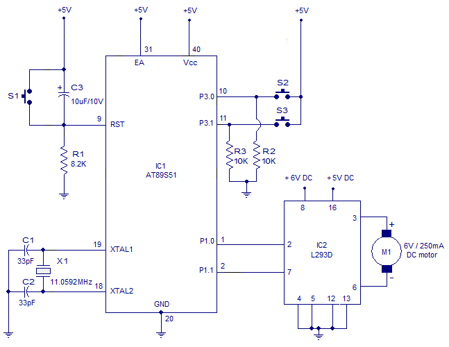 interfacing dc motor to 8051 microcontroller using at89s51 bi directional dc motor push button controlled