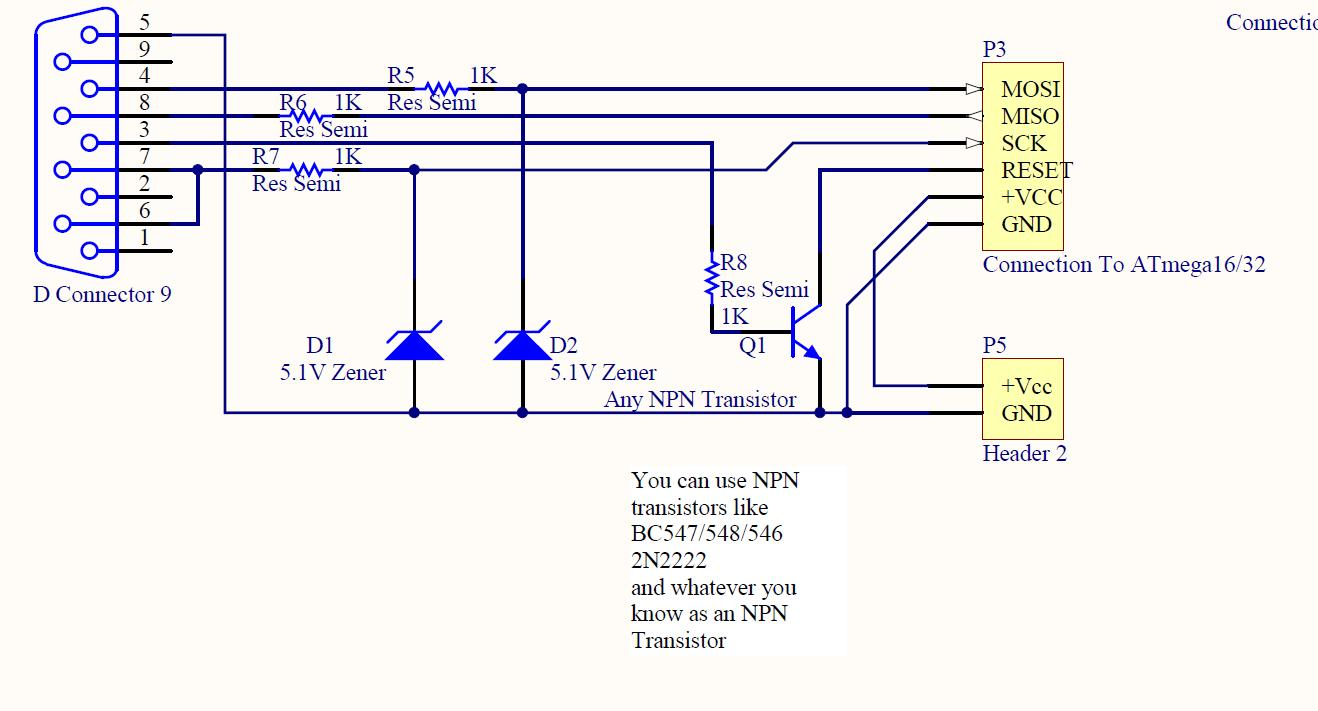 Isp Programmer Burner With Circuit Diagram For Avr Atmega Micro 232 To 485 Wiring Serial Connector Image Of The