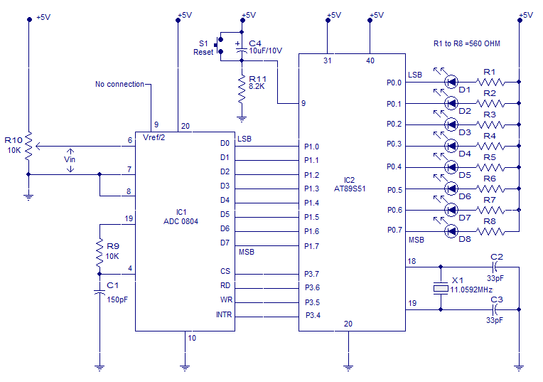 interfacing adc to 8051 circuit for interfacing adc 0804 to at89s51 8051 microcontroller pin diagram interfacing adc to 8051