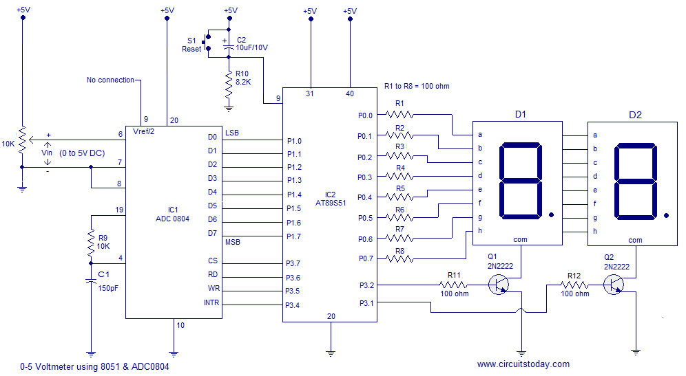 auto led indicator light wiring diagram digital voltmeter using 8051 microcontroller at89s51 with  digital voltmeter using 8051 microcontroller at89s51 with