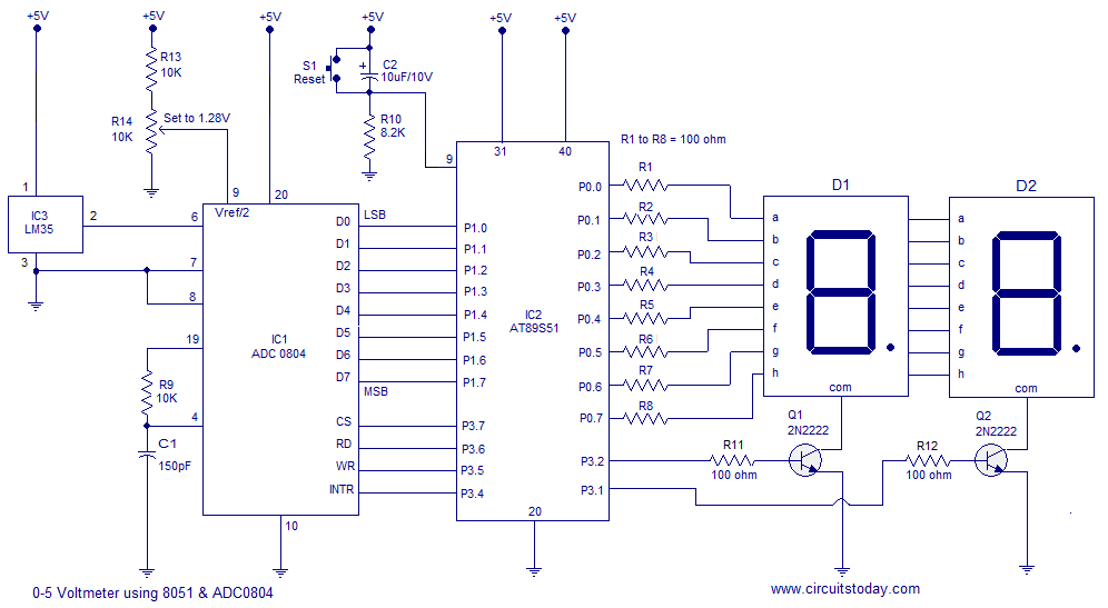 Digital Thermometer Using 8051  Lm35 Temperature Sensor And Adc0804 Analogue To Digital Converter