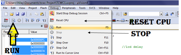 Run (F5) a program in Keil micro vision