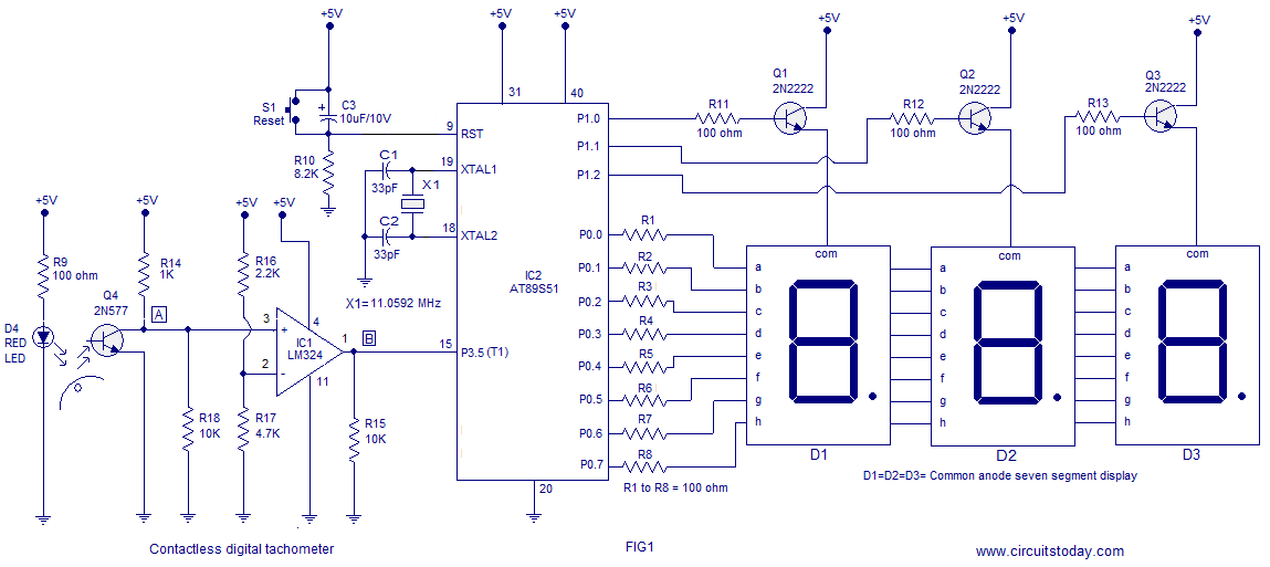 Contactless digital tachometer using 8051. 3 digit display and ... on am/fm radio schematic diagrams, ignition switch schematic diagrams, antenna schematic diagrams, voltage regulator schematic diagrams, using meters electronic circuit schematic diagrams, gm schematic diagrams, security system schematic diagrams, voltmeter schematic diagrams, air conditioning schematic diagrams,