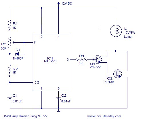 12V PWM lamp dimmer