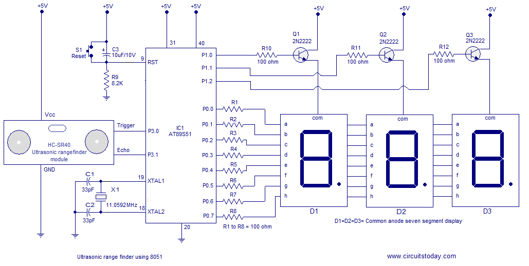 ultrasonic range finder using microcontroller