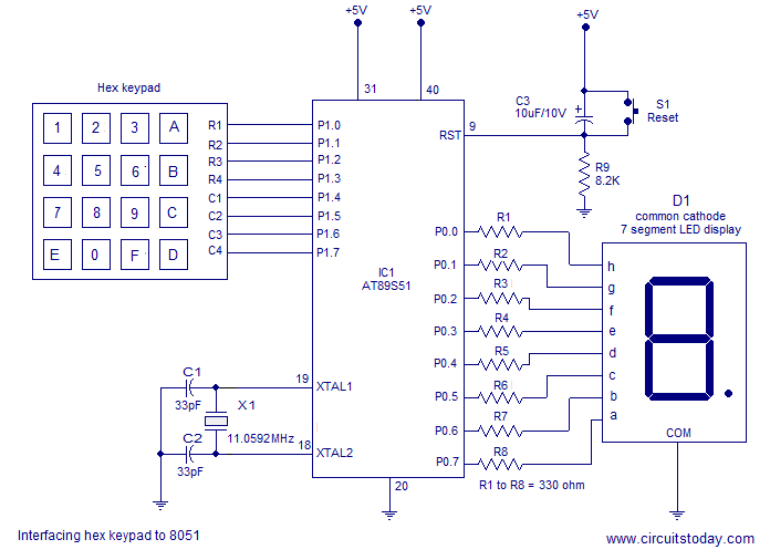 interfacing hex keypad to 8051 circuit diagram and assembly program rh circuitstoday com pc keyboard circuit diagram schematic diagram keyboard