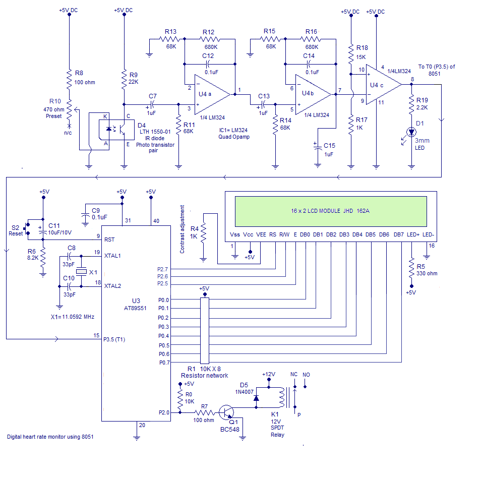 Heart Rate Monitor Using 8051 Microcontroller Measures The Simple Audio Spectrum Analyzer Circuit Electronic Projects Diagram