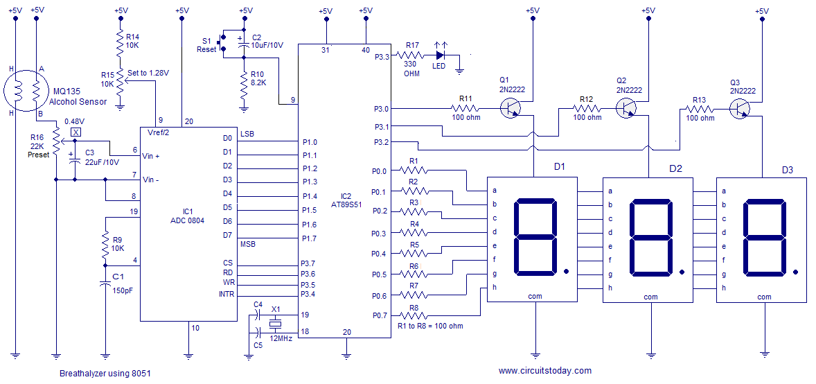 alcohol breathalyzer circuit using  microcontroller. three, circuit diagram