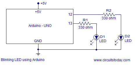 simple led based projects using arduino-with circuit diagram and codes  circuitstoday
