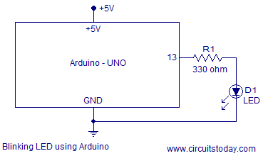circuit to blink LED using arduino