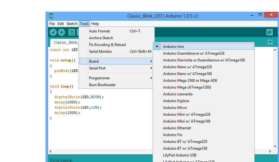 Select Arduino Board on IDE