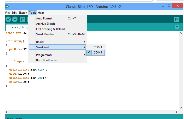 Select the Port on Arduino IDE