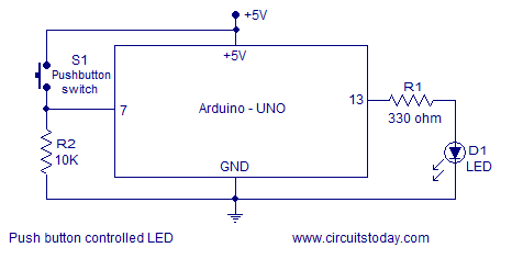 simple led based projects using arduino circuit diagram and codes push button controlled led arduino i have added the circuit diagram