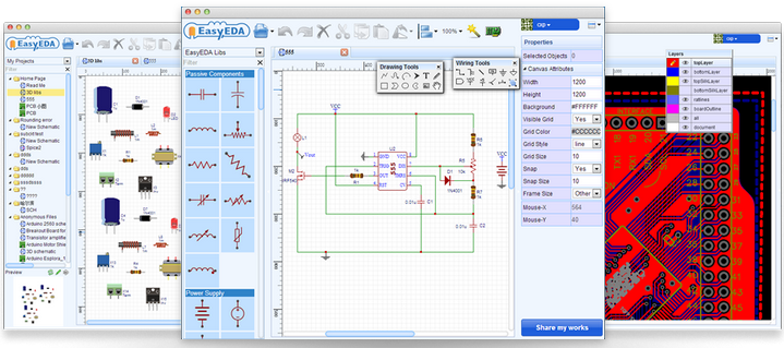 how to draw circuit diagram - pcb layout and simulate circuit online, Wiring diagram