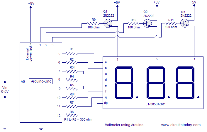 digital voltmeter wiring diagram not lossing wiring diagram • simple 0 5v three digit voltmeter using arduino 50mv sensitivity rh circuitstoday com car voltmeter wiring