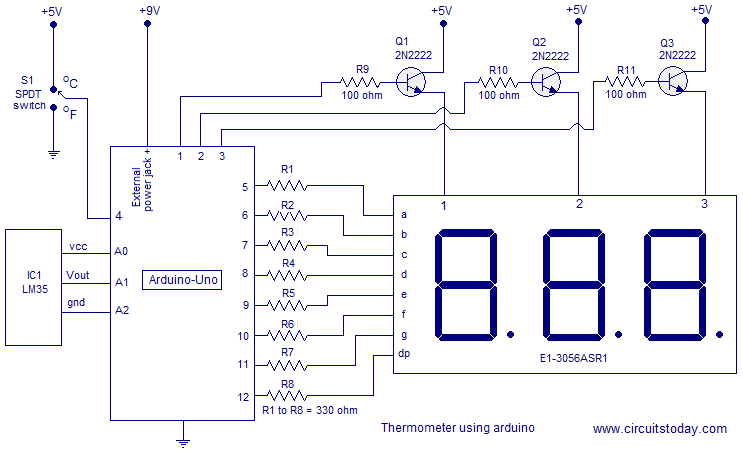 digital thermometer using arduino