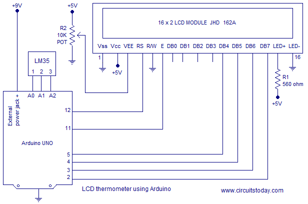 interfacing lcd to arduino tutorial to display on lcd screen circuit diagram lcd thermometer