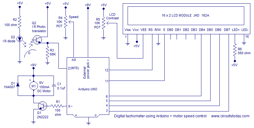 Digital tachometer using arduino plus motor sd control ... on