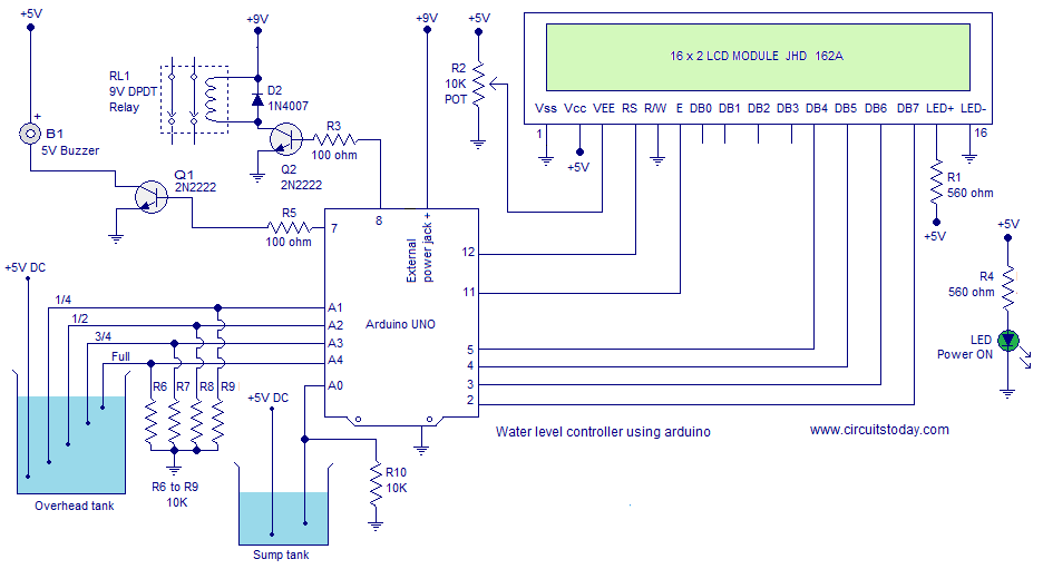 circuit diagram of water level controller ireleast info water level controller using arduino water level indicator using wiring circuit